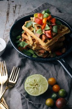 Savory Cornmeal Waffles from @Shellfeather Perfect breakfast for dinner dish!