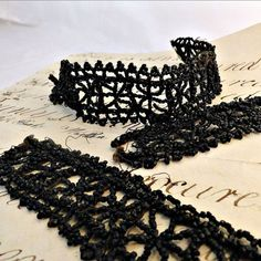Victorian Black French Jet Glass Beaded Trim by SilverFoxAntiques