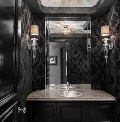 Black Powder Room, Powder Rooms, Dark Bathrooms, Master Bathrooms, Damask  Bathroom, Gothic Bathroom, Black Bathroom Paint, Bathroom Ideas, Home Ideas