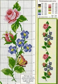 Discover thousands of images about ROSAS Butterfly Cross Stitch, Cross Stitch Borders, Cross Stitch Rose, Cross Stitch Flowers, Cross Stitch Charts, Cross Stitch Designs, Cross Stitching, Cross Stitch Embroidery, Loom Patterns