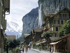 Lauterbrunnen, Switzerland, 1950. Kodachrome photograph by Willard R. Culver, National Geographic
