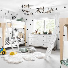 Boy Room - Design photos, ideas and inspiration. Amazing gallery of interior design and decorating ideas of Boy Room in girl's rooms, bathrooms, boy's rooms by elite interior designers - Page 12 Triangle Wall, White Nursery, Kid Spaces, Boy Room, Storage Spaces, Lp Storage, Book Storage, Record Storage, Toddler Bed