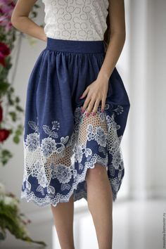 """Jeans + lace skirt / Купить Юбка """"Джинсовый шик"""" - синий, шитье, юбка с кружевом, джинсовый стиль, джинсовая ткань"""