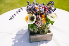 Anemone and Lavender Rustic Flower Centerpiece