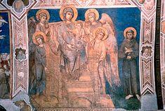 Madonna con ángeles y San Francisco de Asís, obra de Cimabue, hacia 1280, pintura al fresco ejecutada en la iglesia inferior de Asís. Ubicada en Asís, Italia.