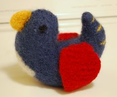 Knitted and felted bird
