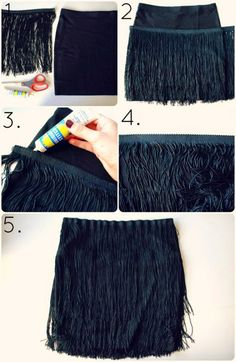 Aprenda nesse tutorial como customizar uma saia usando franja que você compra por metro. Veja ideias para customizar suas roupas...