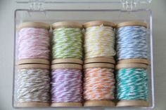 bakers twine wrapped around mini spools