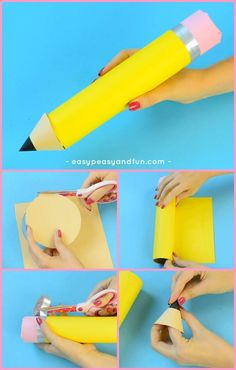 Paper Roll Pencil - Back to School Craft or Classroom Decoration Idea - Easy Peasy and Fun First Day School, I School, School Projects, Craft Projects, Pencil Crafts, Back To School Crafts, School Themes, Toddler Learning, Fun Crafts For Kids