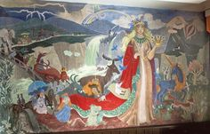 Murals in kindergarten in Kotka (1949),Tove Jansson
