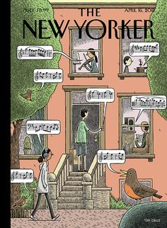 The New Yorker has a fun cover this week from cartoonist Tom Gauld. The New York street scene shows bits of music being played a. The New Yorker, New Yorker Covers, Magazin Covers, Arte Popular, Saddest Songs, Vintage Magazines, Illustrations And Posters, Magazine Art, Magazine Stand