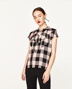 PINK CHECKED BLOUSE-COLLECTION-SALE-WOMAN | ZARA United States