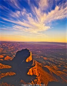 Sunset at Guadalupe Peak, Highest Point in Texas, El Capitan Below, Guadalupe Mountains National Park, Texas, March
