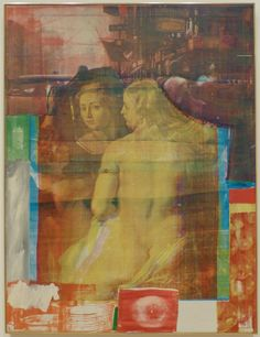 https://flic.kr/p/pW4Dwb | Robert Rauschenberg, Persimmon, 1964. | Oil paint and silkscreen ink on canvas. In the fall of 1962, RR furthered his experiments in assemblage and collage through a series of silk-screened paintings. These canvases combined images from popular magazines, newspapers, photographs, and reproductions of well-known artworks with hand-painted areas of expressive brushwork. In Persimmon, the artist juxtaposed depictions of objects--dishes and fruit--and a steret scene…