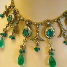 Green Victorian necklace Vintage brass Artisan by MagicalColors