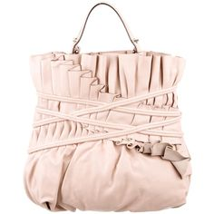 Pre-owned Reed Krakoff Pleated Leather Bag (785 BRL) ❤ liked on Polyvore featuring bags, handbags, neutrals, hand bags, leather purses, pink hand bags, preowned handbags and pink handbags