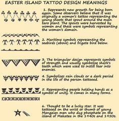 Tattoo History - Easter Island (Rapa Nui) Tattoo Images - History of Tattoos and Tattooing Worldwide Hawaiian Tattoo Meanings, Polynesian Tattoo Meanings, Tribal Tattoos With Meaning, Polynesian Tattoos Women, Tribal Tattoos For Women, Hawaiian Tribal Tattoos, Polynesian Tattoo Designs, Tribal Tattoo Designs, Tribal Tattoo Meanings