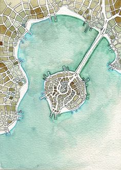 """Emily Garfield. Jade Island (Cityspace #173). Watercolor and pen on paper, 5"""" x 7""""."""
