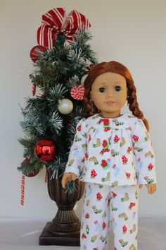 18 inch doll clothes, Christmas pajamas for doll such as american girl style dolls, AG doll clothes by GrandmasDollCloset on Etsy