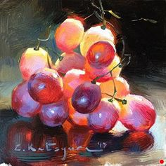"Daily Paintworks - ""Red Wine Grapes"" - Original Fine Art for Sale - © Elena Katsyura Grape Painting, Fruit Painting, Oil Painting Flowers, Painting & Drawing, Painting Still Life, Still Life Art, Fruit Art, Fine Art Gallery, Beautiful Paintings"