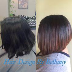 Subtle Balayage, lob, bob, chin length haircut, brown hair, caramel hair, dark hair.