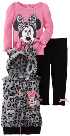 Disney Baby Girls' 3 Piece Minnie Mouse Printed Vest Set, Grey, 24 Months