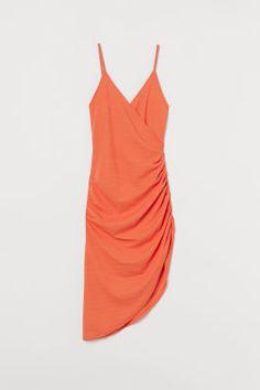Draped Wrap-front Dress - Dark camel - Ladies | H&M US Draped Dress, Dress Up, Wrap Front Dress, Calf Length Dress, Fashion Company, Orange, Mannequin, Lady, World Of Fashion