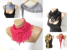 fashion cotton scarves with lace new design by scarvesCHIC on Etsy, $12.90