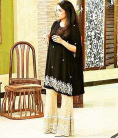Stylish Party Wear Black Dresses for Indian & Pakistani Women : Pakistani and Indian Party wear black dress Pakistani Cape Dresses, Pakistani Wedding Outfits, Beautiful Bridal Dresses, Black Wedding Dresses, Bell Bottom Trousers, Indian Party Wear, Fashion Dresses, Women's Fashion, Fashion Trends