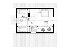 Projekt domu Szarejka – 63.63 m2 - koszt budowy 65 tys. zł Attic, Floor Plans, Loft Room, Attic Rooms, Floor Plan Drawing, House Floor Plans