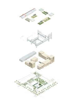 "Image 2 of 5 from gallery of Kjellander + Sjöberg's Winning Design Provides Sustainable Urban Living in Malmö, Sweden. ""It Takes a Block"" Exploded Axonometric. Image Courtesy of Kjellander + Sjöberg Architecture Graphics, Green Architecture, Concept Architecture, Sustainable Architecture, Sustainable Design, Architecture Design, Landscape Architecture, Architecture Illustrations, Architecture Panel"