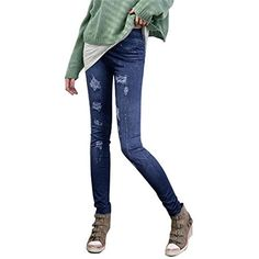 abcsell ABC Sexy Women Jeans Stretchy Slim Leggings Skinny Pant (Blue)