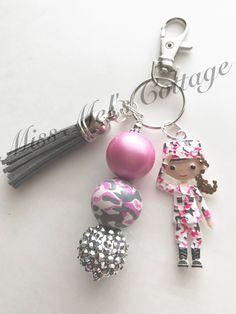 I Heart Mark Zipper Pull Charm Rainbow Sparkle Beads Blocks Key Chain