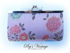 Asian//Oriental Satin Floral Lilac Bracade by PegsVintageJewellery
