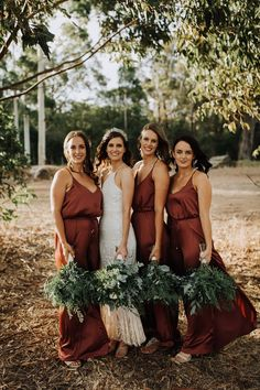 Wedding Day Simple Sheath V Neck Brown Satin Long Bridesmaid Dresses - Simple Sheath V Neck Brown Satin Long Bridesmaid Dresses, we provide free custom made and change the color, put down your size or date requirement in the note box when you check out Burnt Orange Bridesmaid Dresses, Red Bridesmaids, Wedding Bridesmaid Dresses, Bridesmaid Color, Burnt Orange Dress, Alternative Bridesmaid Dresses, Burnt Orange Weddings, Wedding Bells, Boho Wedding
