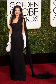 Golden Globes 2015: Amal Clooney in a Dior black dress. Click through to see all the red carpet pictures.