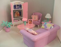 1997 barbie folding pretty house living room set with accessories, Hause deko