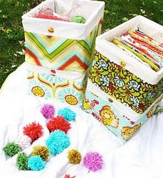 Sew these adorable liners/covers to cover ugly crates.