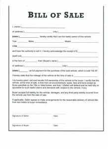 Free Printable Last Will And Testament Form Generic Bill Of Sale Template Word Template Sales Template