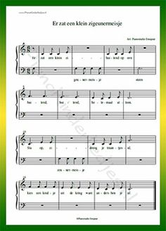 Er zat een klein zigeunermeisje - Gratis bladmuziek van kinderliedjes in eenvoudige zetting voor piano. Piano leren spelen met bekende liedjes.