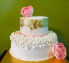 Pink and gold  Chic baby showers cake.