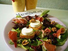 tomate, batavia, baguette, huile d'olive, chèvre frais, raisins secs, jambon, cerneau de noix, vinaigre