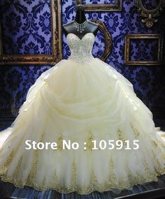 $5 LOVE THIS!!! WD-29 Yellow Sweetheart Strapless BallGown Beaded Applique Lace up Back Ruffles Royal Wedding Dresses on https://AliExpress.com. 25% off $337.50 $5 Deal