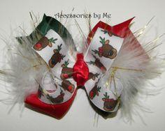 bows for girls hair | Girls' Boutique Christmas Reindeer Marabou Hair Bow