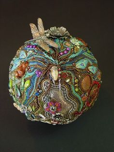 """Fortune Teller""         This beautiful hand beaded 6"" sphere is by bead artist Heidi Kummli. Inspired by what a fortune teller might see in her crystal ball. I love this piece!"