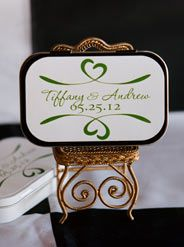 #PersonalizedCandyTins with the Dublin format. Cute and functional. 4 choices of candy inside tin are peppermints, mint gum, fruit tarts and gumballs. Great for #candybuffets. Only from www.FavorsYouKeep.com -512.323.0600 #whattoputinweddingwelcomebag #whattoputinweddingguestbag #candybuffetideas