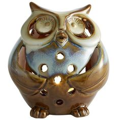 Pier 1 Ceramic Owl Tealight Holder - I have a collection of various type owls that is stored away for parties or fall decorating.