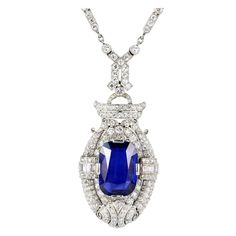Edwardian Burma Sapphire, Diamond and Pearl Necklace | From a unique collection of vintage drop necklaces