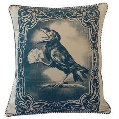Card Playing Crow Pillow 22x18