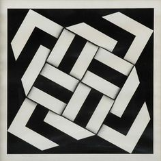 An optical art piece by Colombian artist, Omar Rayo. Minimalist geometric shapes intertwined form a beautifully sophisticated design. Optical Illusion Quilts, Optical Illusions, Panel Quilts, Quilt Blocks, Op Art, Textiles Sketchbook, Black And White Quilts, Reclaimed Wood Art, Illusion Art